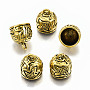 (Same Sku: TIBEP-19878-AG-RS)Tibetan Style Alloy Metal Cord Ends, End Caps, Cadmium Free & Lead Free, Antique Golden, 17x15mm, Hole: 3mm, Inner Diameter: 12mm; about 250pcs/1000g