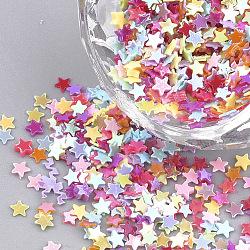 Accessoires ornement, paillette / paillettes en plastique pvc, de couleur plaquée ab , étoiles, couleur mixte, 2.5x2.5x0.2 mm; environ 10000 pcs / 50 g(X-PVC-T001-04)