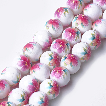 Printed & Spray Painted Glass Beads, Round with Flower Pattern, Hot Pink, 12~12.5x11.5mm, Hole: 1.4mm(GLAA-S047-02C-05)