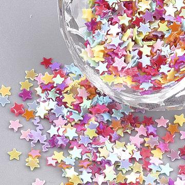 Ornament Accessories, PVC Plastic Paillette/Sequins Beads, AB Color Plated, Star, Mixed Color, 2.5x2.5x0.2mm; about 10000pcs/50g(X-PVC-T001-04)