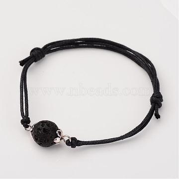 Adjustable Natural Lava Rock and Waxed Cotton Cord Bracelets, with Tibetan Style Alloy Bead Caps, 42~75mm(BJEW-JB02333-01)