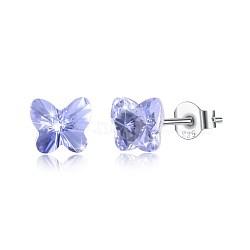 925 boucles d'oreille en argent sterling, avec le cristal autrichien, papillon, sculpté 925, platine, 539 _tanzanite, 5x5 mm(EJEW-BB30547-E)