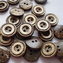 Boutons concentriques 2 trous, bouton de noix de coco, multicolore, environ 13 mm de diamètre(NNA0YXZ)