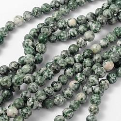 """Perles en pierres gemme, tache verte jasper, rond, environ 8 mm de diamètre, trou: environ 1 mm, Environ 46 pcs/chapelet, 15~16""""(X-GSR006)"""