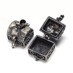 Sculptés en rack cuboïde boîte laitonnage de prière pendentifs, boîte souhaiter, gunmetal, 17x16x18mm, Trou: 5x3mm(KK-L101-16B)