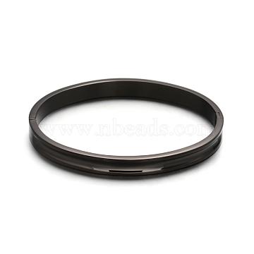 Fashionable Unisex 304 Stainless Steel Bangles, Gunmetal, 53X64mm(BJEW-L552-02E-8mm)