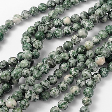 Gemstone Beads Strands, Green Spot Jasper, Round, about 8mm in diameter, hole: about 1mm, about 46pcs/strand, 15~16 inches(X-GSR006)