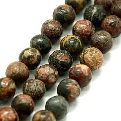 perles de jaspe en peau de léopard naturel, arrondir, 4~5 mm, trou: 0.5 mm; environ 85 perle / brin, 14.96 (38 cm)(G-I199-23-4mm)