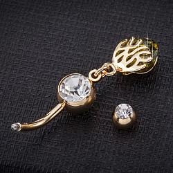 piercing bijoux, anneau de nombril de zircon cubique en laiton environnemental, anneaux de ventre, avec des résultats en acier inoxydable à usage médical, véritable plaqué or, olive, 38x8 mm(AJEW-EE0003-35B)