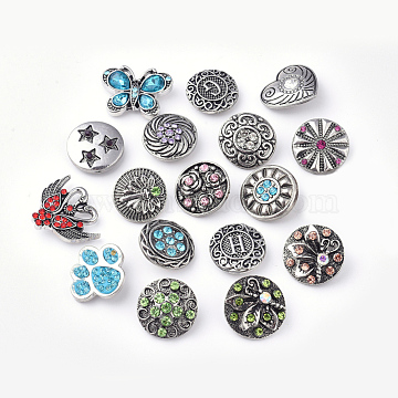 (Defective Closeout Sale),  Zinc Alloy Snap Buttons, with Rhinestone, Mixed Shape, Mixed Color, 18~22x18~26x6~8mm,  Knob: 5~5.5mm(ALRI-XCP0001-07)