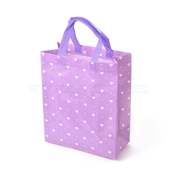 Gloss Lamination Printing Eco-Friendly Reusable Bags, Non Woven Fabric Shopping Bags, Random Color Handles, Lilac, 26.75x12.55x32.9cm(ABAG-L004-V01)