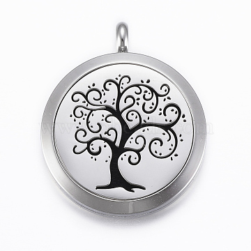 316 Surgical Stainless Steel Diffuser Locket Pendants, with Perfume Pad and Magnetic Clasps, Flat Round with Tree of Life, Stainless Steel Color, Black, 37x30x6.5mm, Hole: 5mm, inner diameter: 23mm(X-STAS-H404-14E)