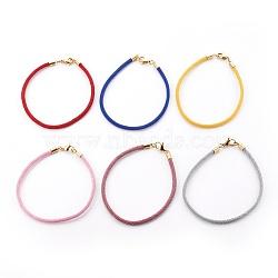 """Création de bracelet en cordon de coton tressé, avec 304 fermoirs inox , or, couleur mixte, 8-5/8"""" (21.8 cm), 3mm(MAK-L018-03A-M-G)"""