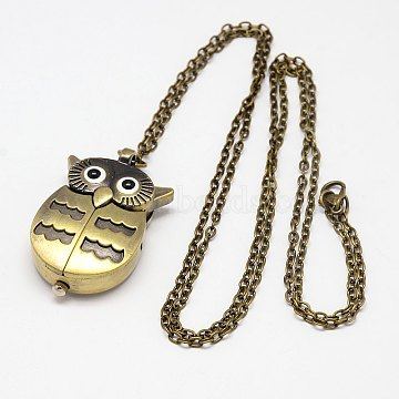 Antique Bronze Alloy Owl Design Openable Pendant Pocket Watch Necklaces with Iron Chains, Quartz Watch, 31.5inches; Watch: 43x27x12mm(WACH-M011-02)