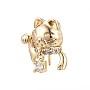 Real 18K Gold Plated Clear Brass+Cubic Zirconia Screw Eye Peg Bails(KK-Q764-031)