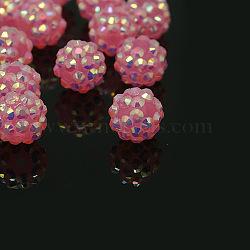 Бусины, стразы из смолы, chunky, Круглые бусины из смолы , розовые, 12 мм, отверстие : 3 мм(X-RESI-M019-36)