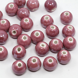 Nacrées palevioletred perles rondes à la main en porcelaine, 10mm, Trou: 2~3mm(X-PORC-D001-10mm-06)