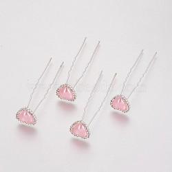 (vente de clôture défectueuse), fourches de cheveux de dame, avec des résultats de fer de couleur argent, strass et acrylique, cœur, cristal, rose, 71 mm(PHAR-XCP0001-L02)