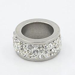 304 perles de colonne en acier inoxydable, avec argile polymère strass, couleur métallique en acier inoxydable, cristal, 13x6mm, Trou: 8mm(X-RB-I065-02)