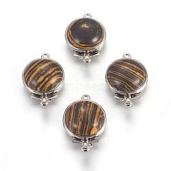 Fermoirs de boîte en pierre de bois de dentelle synthétique, avec les accessoires en laiton de tonalité de platine, plat rond, 27~28x18x7~9.5mm, Trou: 1~2mm(G-L473-C07)