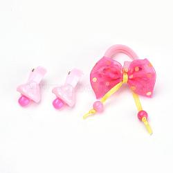 Kits d'accessoires de cheveux pour beaux enfants, pinces à cheveux en alligator en plastique et élastiques à cheveux, avec résine de champignons et bowknot de dentelle, couleur mixte, 33mm; attaches de cheveux: 1pc, clip: 2 pcs / sac; 10 sacs / groupe(OHAR-S193-20)