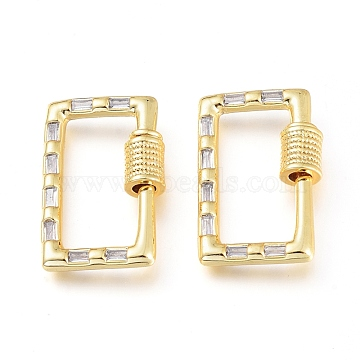 Brass Micro Pave Cubic Zirconia Screw Carabiner Lock Charms, for Necklaces Making, Rectangle, Golden, Clear, 22.5x14.5x5mm(KK-M206-12G-01)