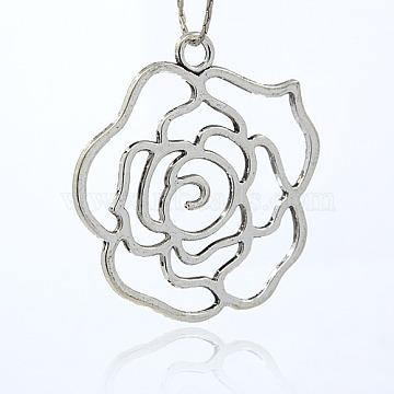 Platinum Flower Alloy Big Pendants
