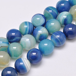 Natural Striped Agate/Banded Agate Bead Strands, Dyed & Heated, Round, Grade A, DodgerBlue, 12mm, Hole: 1mm; about 32pcs/strand, 15.1 inches(385mm)