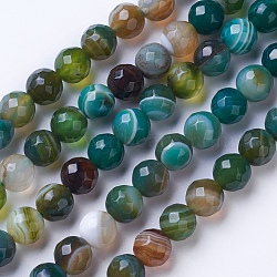 Natural Striped Agate/Banded Agate Beads Strands, Dyed & Heated, Faceted, Grade A, Round, Green, 6mm, Hole: 1mm; about 62pcs/strand, 14.9''(38cm)