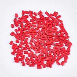 cuisson peinture perles de verre plat, rectangle, rouge, 4~7x3~4x2.5 mm, trou: 0.8 mm; environ 2500 PCs / sachet (SEED-S023-12F)