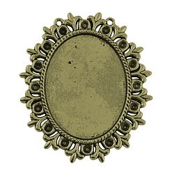 Supports de style Tibétain en alliage pour cabochon & strass, sans plomb et sans cadmium, fleur, bronze antique, bac: 40x30 mm et 3 mm; 56x49x2 mm, Trou: 1mm(X-TIBEP-554-AB-LF)