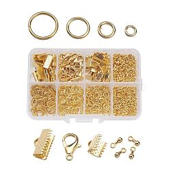 1Box Jewelry Findings 20PCS Alloy Lobster Claw Clasps, 45PCS Iron Ribbon Ends, 40g Brass Jump Rings, 10g Alloy Teardrop End Pieces, Golden, Lobster Clasps: 14x8mm, Hole: 1.8mm, Ribbon Ends: 8~13x6~7x5mm, Hole: 2mm, Jump Rings: 4~10mm, End Piece: 7x2.5mm, Hole: 1.5mm(FIND-X0001-G-B)