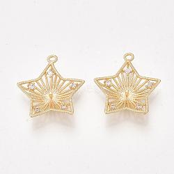 pendentifs en forme de zircon cubique en laiton, pour perle à moitié percée, étoiles, effacer, véritable plaqué or, 19~20x19x5 mm, trou: 1 mm; broches: 1 mm(KK-S350-335)