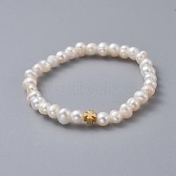 """Bracelets enfants extensibles, avec des perles en laiton, grade a perles d'eau douce naturelles et sacs d'emballage en toile de jute sacs à cordon, trèfle, blanc, 1-3/4"""" (4.5 cm)(BJEW-JB04622-02)"""