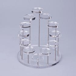 Affichages d'anneau en verre organique acrylique, plat rond, clair, 14.4x15.3 cm(RDIS-F001-01B)