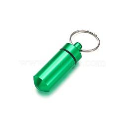 открытый портативный алюминиевый сплав небольшой чехол, с кольцом для ключей железы, платина, mediumspringgreen, 50.5x17 мм; кольцо для ключей: 24.5 мм(KEYC-TA0003-04A)