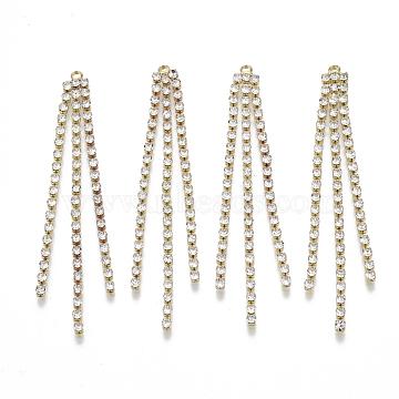 Brass Rhinestone Cup Chain Big Pendants, Tassel Pendant, Crystal, Golden, 68x6x2mm, Hole: 1.6mm(X-KK-R129-09G)