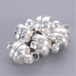 fermoirs magnétiques en laiton, ovale, plaqué argent, 11x7 mm, trou: 1.5 mm(X-KK-H361-S)