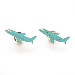 broches d'alliage, broche en émail, avec l'émail, avion, mediumturquoise, or et de lumière, 14.5x33 mm(JEWB-G006-06LG)
