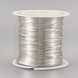 Copper Wire Copper Beading Wire, Long-Lasting Plated, Silver Color Plated, 21 Gauge, 0.7mm; 13m/roll(CWIR-F001-S-0.7mm)