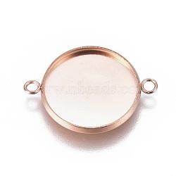 304 настройки разъема кабошона из нержавеющей стали, чашки безель с краем, плоские круглые, розовое золото, лоток: 16 мм; 23.5x17.8x2 мм, отверстия: 1.8 mm(STAS-G127-14-16mm-RG)