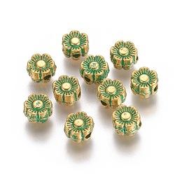 perles d'alliage, fleur, patine dorée et verte, 5.5~6x3 mm, trou: 1.5 mm(PALLOY-L214-66GGP)