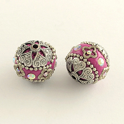 Round Handmade Rhinestone Indonesia Beads, with Antique Silver Plated Alloy Cores, Camellia, 19~21x20mm, Hole: 2mm(X-IPDL-Q036-24D)