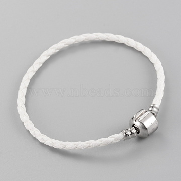 Imitation Leather European Style Bracelet Making, with Brass Clasps, White, 7-1/4 inches(185mm)x3mm(X-MAK-R011-01A)