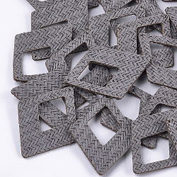 Handmade Straw Woven Big Pendants, Rhombus, Gray, 65x47.5x2.5mm, Hole: 1.2mm(X-WOVE-S119-12A)