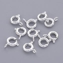 Латунная застежка пружинного кольца, ювелирные изделия компонентов, серебро , 6 мм, отверстие : 1.5 мм(EC095-S)