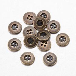 Boutons en alliage, 4-trou, plat rond, de style tibétain, bronze antique, 15x2mm, Trou: 1mm(X-BUTT-D054-15mm-04)