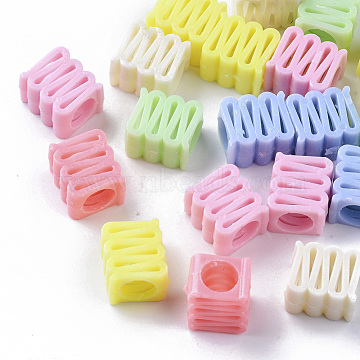Opaque Polystyrene(PS) Plastic Beads, Large Hole Beads, Cuboid, Mixed Color, 12.5x14x9mm, Hole: 7mm; about 500pc/500g(KY-I004-13)
