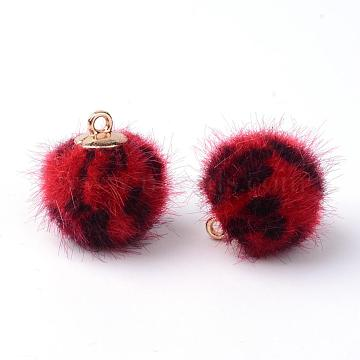 Handmade Plush Cloth Fabric Covered Charms, Round, with Brass Findings, Golden, Red, 17.5~18x14.5~15mm, Hole: 1.5mm(X-WOVE-S082-14mm-01)
