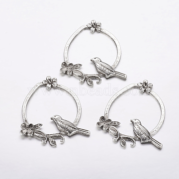 Tibetan Style Alloy Ring with Bird Large Pendants, Lead Free, Nickel Free and Cadmium Free, 51x37x3mm(X-TIBEP-EA13491Y-LF)